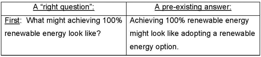 A Right Question and a Pre-existing Answer What might achieving 100% renewable energy look like