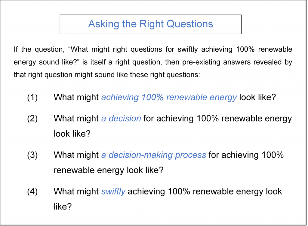 what right questions for swiftly achieving 100% renewable energy might look like #rightquestions #decisionmaking #100percentrenewable #renewableenergy